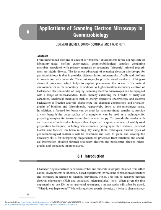 Chapter 6 Applications of Scanning Electron Microscopy in Geomicrobiology